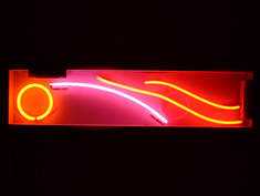 circle and swish neon hire sign