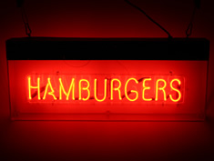 red neon hamburgers sign for hire