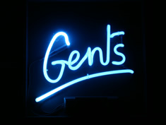 neon gents bathroom sign for hire