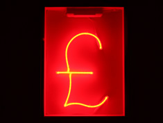 red neon pound sign for hire